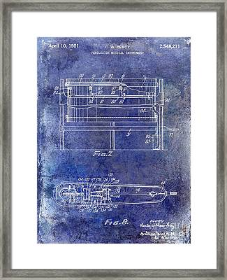 1951 Drum Patent Blue Framed Print