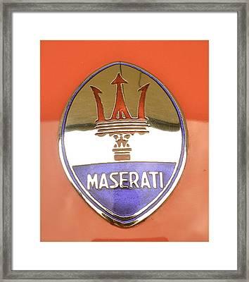 1957 Fangio Maserati 250f Hood Badge Framed Print by John Colley