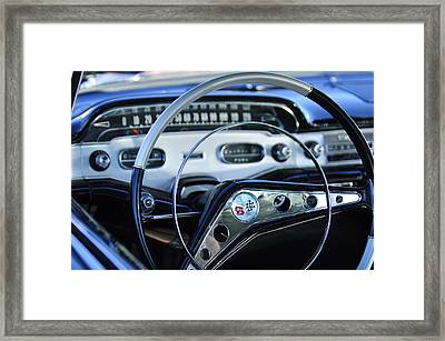 1958 Chevrolet Impala Steering Wheel Framed Print by Jill Reger