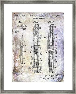1958 Fountain Pen Pistol Patent Framed Print by Jon Neidert