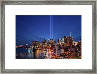 911 Tribute In Light In Nyc Framed Print