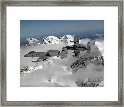 A-10 Thunderbolt IIs Fly Framed Print by Stocktrek Images