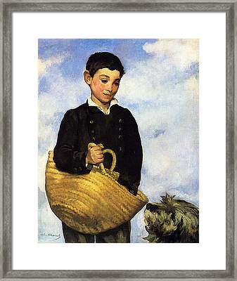 A Boy With A Dog Framed Print by Edouard Manet