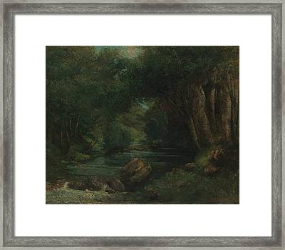 A Brook In The Forest Framed Print by Gustave Courbet