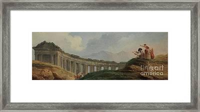 A Colonnade In Ruins Framed Print