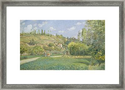 A Cowherd At Valhermeil, Auvers-sur-oise Framed Print by Camille Pissarro