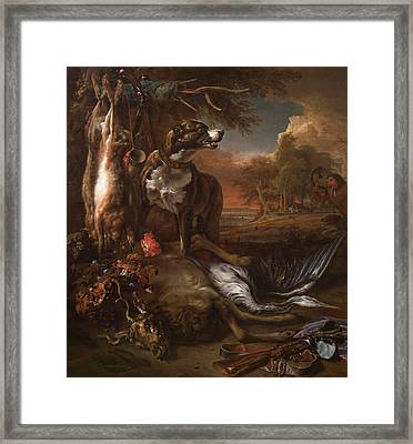 A Deerhound With Dead Game And Implements Of The Chase Framed Print