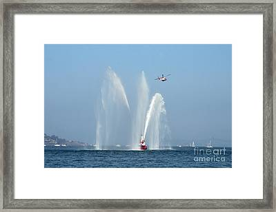 A Fire Boat Framed Print
