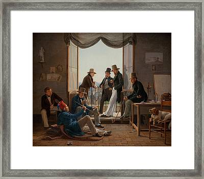 A Group Of Danish Artists In Rome Framed Print by Constantin Hansen
