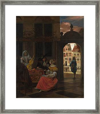 A Musical Party In A Courtyard Framed Print