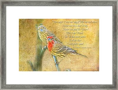 A Pair Of Housefinches With Verse Part 2 - Digital Paint Framed Print