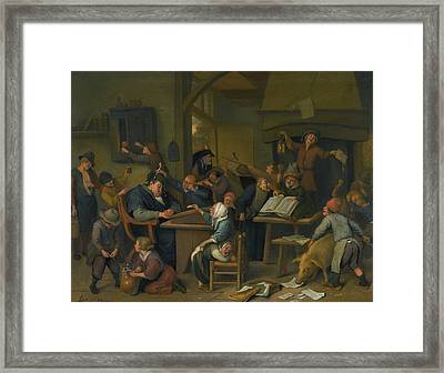A Riotous Schoolroom With A Snoozing Schoolmaster Framed Print by Jan Havicksz