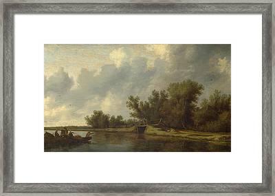 A River Landscape With Fishermen Framed Print
