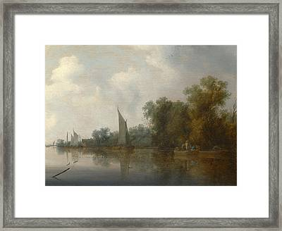 A River With Fishermen Drawing A Net Framed Print
