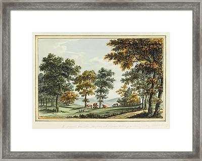 A Scene In The Garden At Brandsbury Framed Print by Humphrey Repton