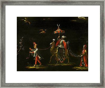 A Sultan Riding A Camel Led By A Driver Framed Print by MotionAge Designs