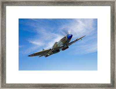 A Supermarine Spitfire Mk-18 In Flight Framed Print by Scott Germain