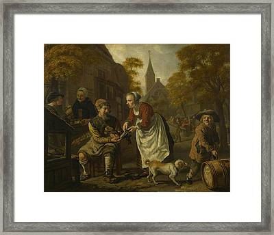 A Village Scene With A Cobbler Framed Print by Jan Victors