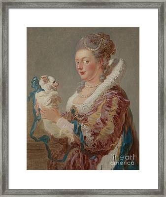 A Woman With A Dog Framed Print by Jean Honore Fragonard