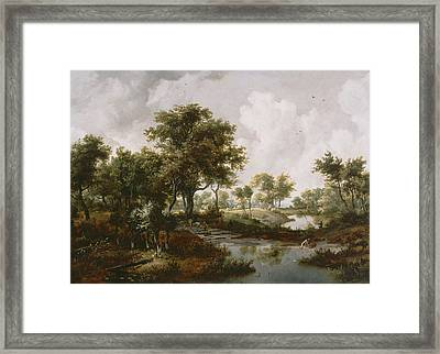 A Wooded Landscape Framed Print by Meindert Hobbema