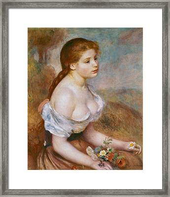 A Young Girl With Daisies Framed Print by Pierre-Auguste Renoir