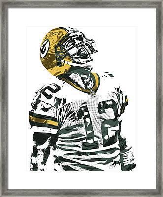 Aaron Rodgers Green Bay Packers Pixel Art 4 Framed Print by Joe Hamilton