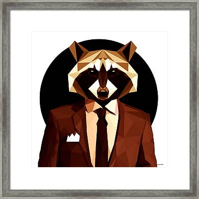 Abstract Geometric Raccoon Framed Print by Gallini Design