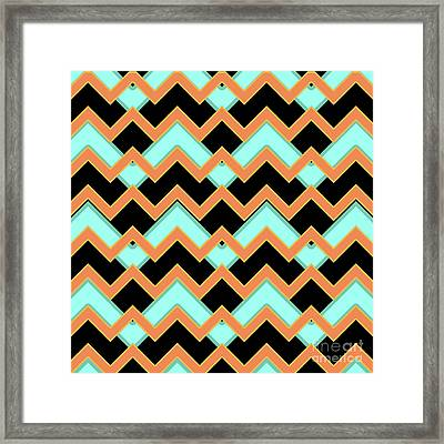 Abstract Orange, Black And Cyan Pattern For Home Decoration Framed Print