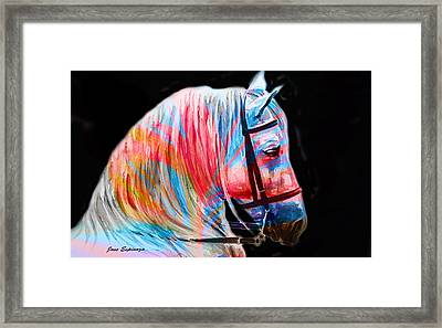 Framed Print featuring the painting Abstract White Horse 19 by J- J- Espinoza