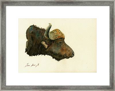 African Buffalo Watercolor Painting Framed Print