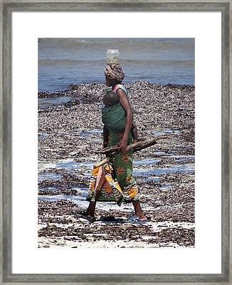 African Woman Collecting Shells 1 Framed Print