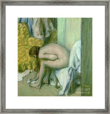 After The Bath Framed Print by Edgar Degas