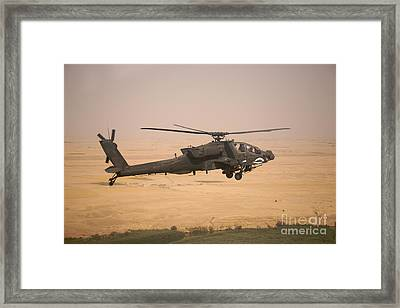 Ah-64d Apache Helicopter On A Mission Framed Print by Terry Moore