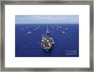 Aircraft Carrier Uss Ronald Reagan Framed Print by Stocktrek Images