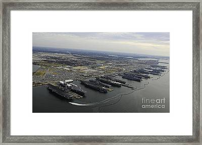 Aircraft Carriers In Port At Naval Framed Print