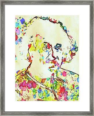 Albert Einstein Famous Scientist Framed Print by Mary Bassett