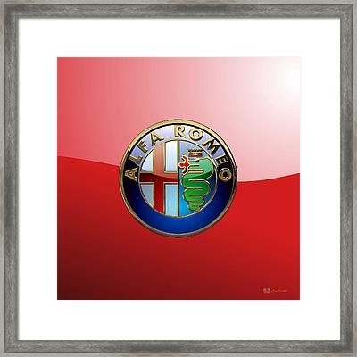 Alfa Romeo - 3d Badge On Red Framed Print by Serge Averbukh