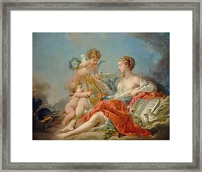 Allegory Of Music Framed Print by Francois Boucher