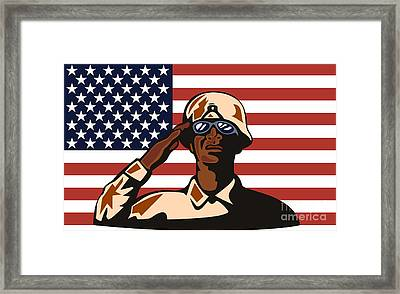 American Soldier Saluting Flag Framed Print by Aloysius Patrimonio