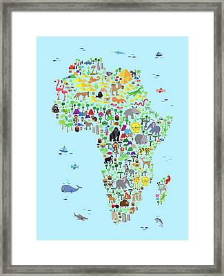 Animal Map Of Africa For Children And Kids Framed Print