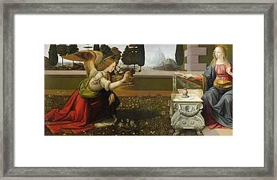 Annunciation Framed Print by Leonardo Da Vinci