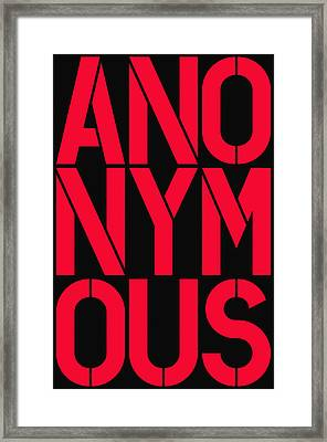 Anonymous Framed Print by Three Dots