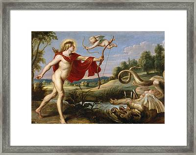 Apollo And The Python Framed Print