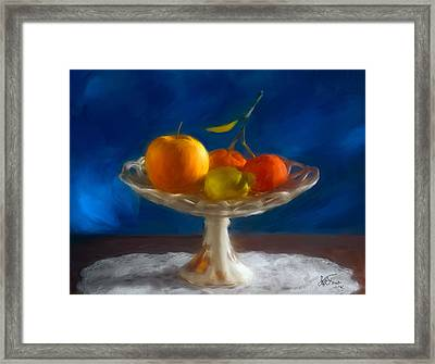 Apple, Lemon And Mandarins. Valencia. Spain Framed Print
