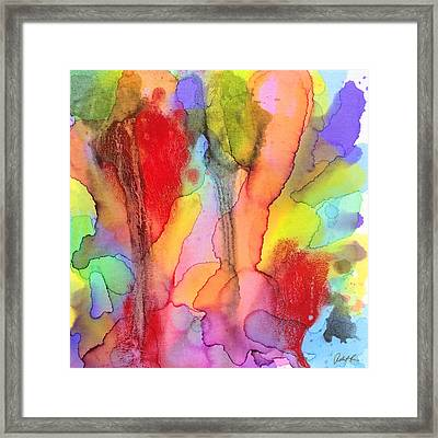 2 Art Abstract Painting Modern Color Signed Robert R Erod Framed Print