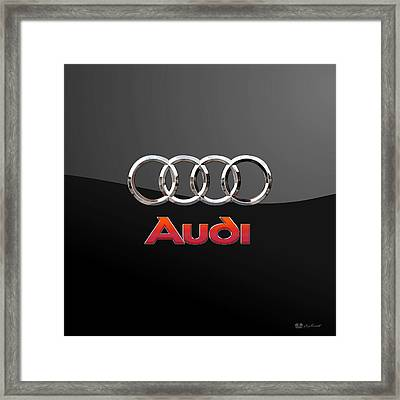 Audi - 3 D Badge On Black Framed Print by Serge Averbukh