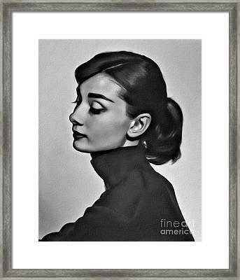 Audrey Hepburn, Digital Art By Mary Bassett Framed Print
