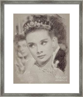 Audrey Hepburn Hollywood Actress Framed Print by Frank Falcon