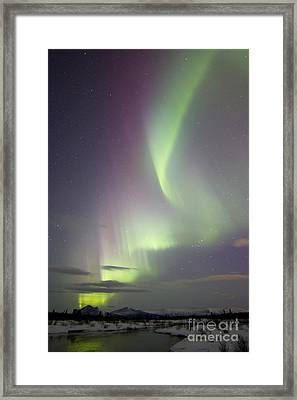 Aurora Borealis Over Creek By Fish Framed Print by Joseph Bradley