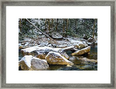 Autumn Snow Cranberry River Framed Print